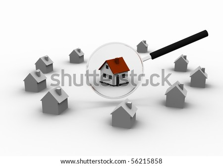 Three-dimensional house and magnifying glass. as a symbol of the Real Estate - stock photo