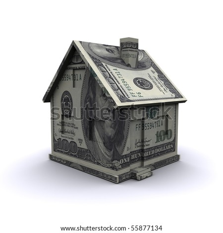 Three-dimensional house of banknotes - stock photo