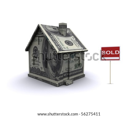 Three-dimensional house on a white background. The symbol of the Real Estate - stock photo