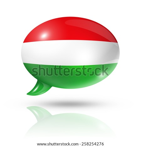 three dimensional Hungary flag in a speech bubble isolated on white with clipping path - stock photo