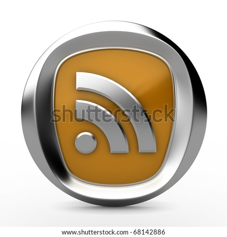 three-dimensional icon rss - stock photo