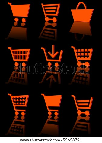 three-dimensional icons of the shopping cart. black background with reflection - stock photo