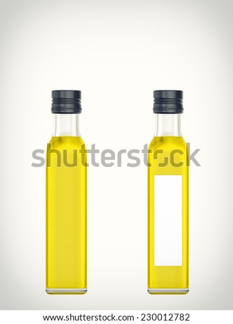Three-dimensional illustration of a bottle with olive oil isolated on a white background - stock photo