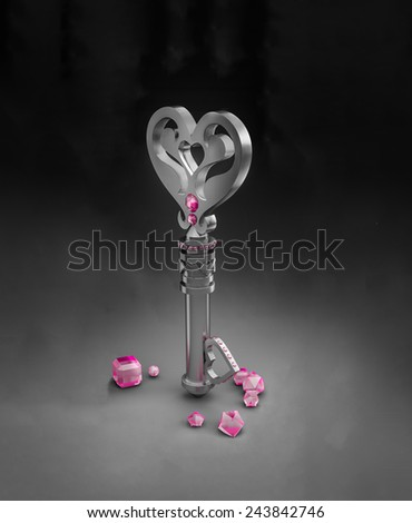 Three dimensional illustration of a heart shaped key and pink gems. - stock photo