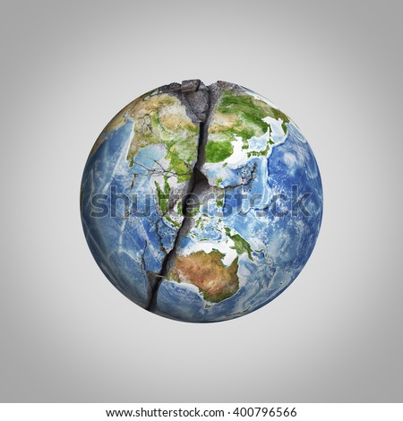Three-dimensional illustration of damaged Earth planet with crack. Elements this image are furnished by NASA - stock photo
