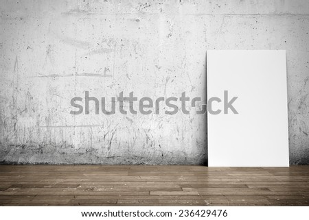 Three-dimensional illustration of interior: white blank poster on concrete wall and wood floor - stock photo