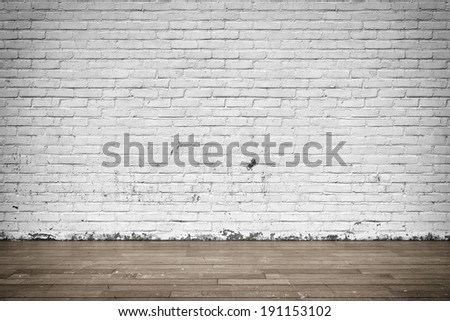 Three-dimensional illustration of interior with brick wall and wood floor - stock photo
