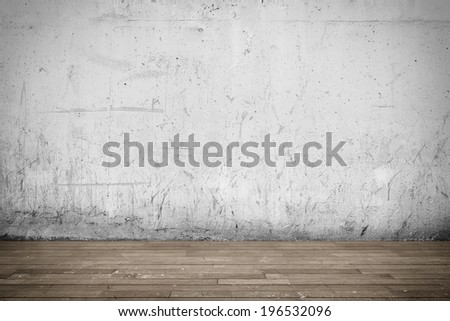 Three-dimensional illustration of interior with concrete wall and wood floor - stock photo
