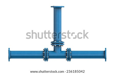 Three-dimensional illustration of metal pipe isolated on a white background - stock photo