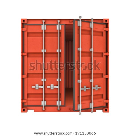 Three-dimensional illustration of metal ship container isolated on a white background - stock photo