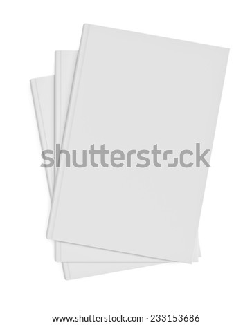 Three-dimensional illustration of white blank books on white background - stock photo