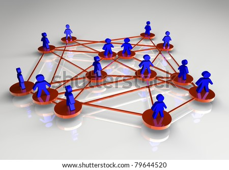 Three-dimensional illustration rendered.  Concept of people connected.