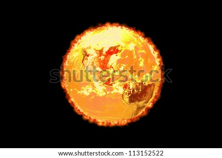 Three dimensional image of planet earth isolated on a black background. - stock photo