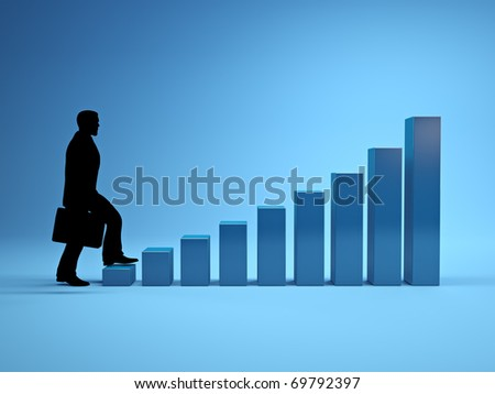 Three dimensional image of the ladder of success - stock photo