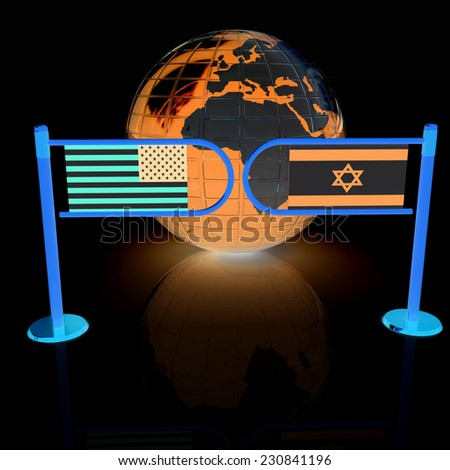 Three-dimensional image of the turnstile and flags of America and Israel on a black background  - stock photo