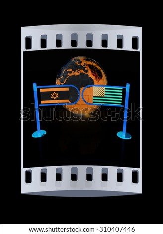 Three-dimensional image of the turnstile and flags of America and Israel on a black background. The film strip - stock photo
