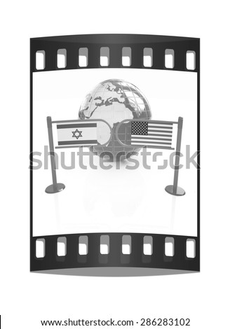 Three-dimensional image of the turnstile and flags of America and Israel on a white background. The film strip - stock photo