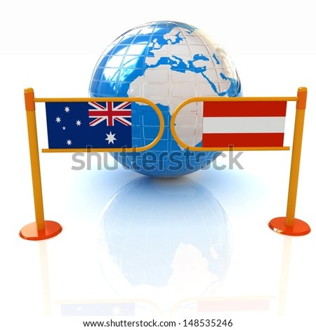 Three-dimensional image of the turnstile and flags of America and Syria on a white background - stock photo