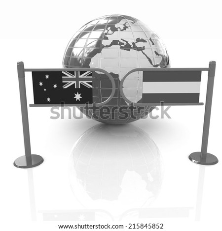 Three-dimensional image of the turnstile and flags of Australia and Austria on a white background  - stock photo