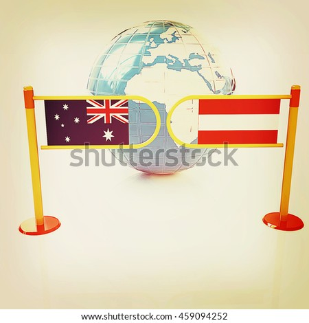 Three-dimensional image of the turnstile and flags of Australia and Austria on a white background . 3D illustration. Vintage style. - stock photo