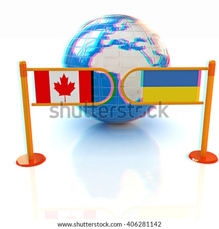 Three-dimensional image of the turnstile and flags of Canada and Ukraine on a white background . 3D illustration. Anaglyph. View with red/cyan glasses to see in 3D. - stock photo