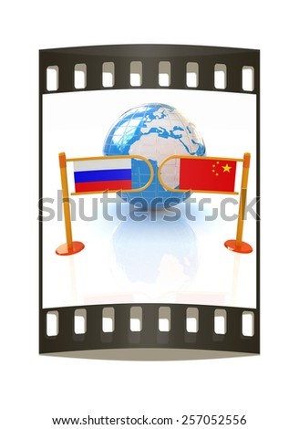 Three-dimensional image of the turnstile and flags of China and Russia on a white background. The film strip - stock photo