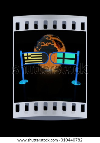 Three-dimensional image of the turnstile and flags of Denmark and Greece on a black background. The film strip - stock photo