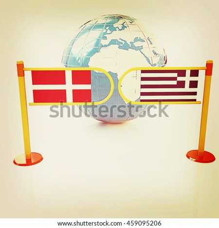 Three-dimensional image of the turnstile and flags of Denmark and Greece on a white background . 3D illustration. Vintage style. - stock photo