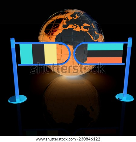 Three-dimensional image of the turnstile and flags of France and Luxembourg on a black background  - stock photo