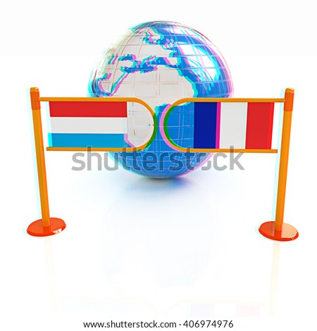Three-dimensional image of the turnstile and flags of France and Luxembourg on a white background . 3D illustration. Anaglyph. View with red/cyan glasses to see in 3D. - stock photo