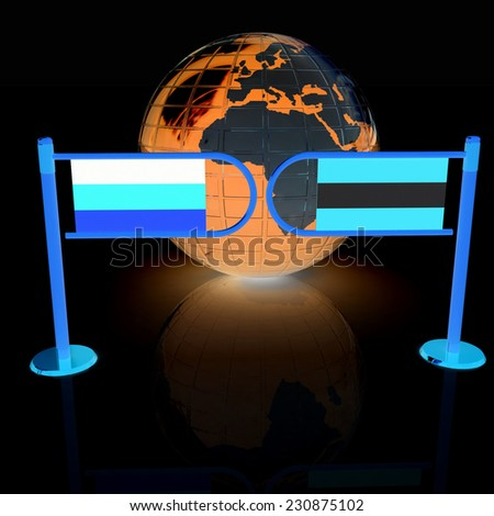 Three-dimensional image of the turnstile and flags of Germany and Austria on a black background  - stock photo