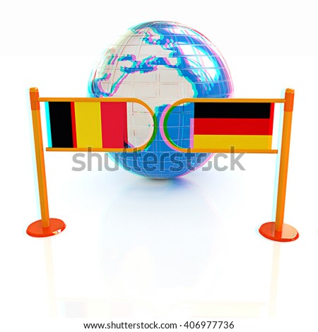 Three-dimensional image of the turnstile and flags of Germany and Belgium on a white background . 3D illustration. Anaglyph. View with red/cyan glasses to see in 3D. - stock photo