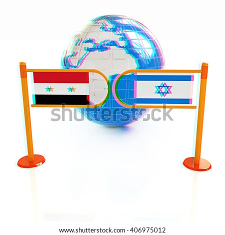 Three-dimensional image of the turnstile and flags of Israel and Syria on a white background . 3D illustration. Anaglyph. View with red/cyan glasses to see in 3D. - stock photo