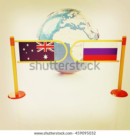 Three-dimensional image of the turnstile and flags of Russia and Australia on a white background . 3D illustration. Vintage style. - stock photo