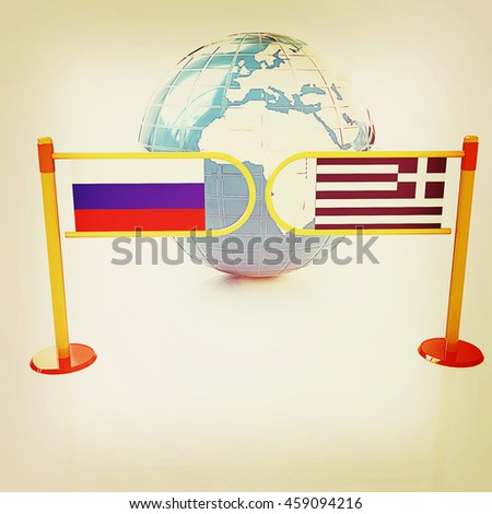 Three-dimensional image of the turnstile and flags of Russia and Greece on a white background . 3D illustration. Vintage style. - stock photo