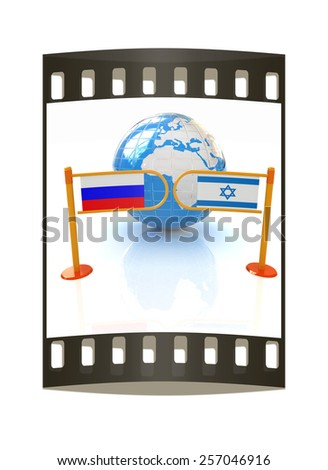 Three-dimensional image of the turnstile and flags of Russia and Israel on a white background. The film strip - stock photo