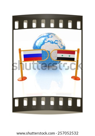 Three-dimensional image of the turnstile and flags of Russia and Syria on a white background. The film strip - stock photo