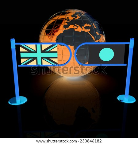 Three-dimensional image of the turnstile and flags of UK and Japan on a black background  - stock photo