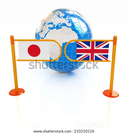 Three-dimensional image of the turnstile and flags of UK and Japan on a white background  - stock photo