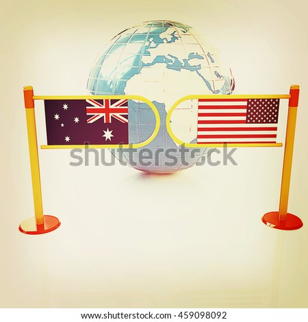 Three-dimensional image of the turnstile and flags of USA and Australia on a white background . 3D illustration. Vintage style. - stock photo