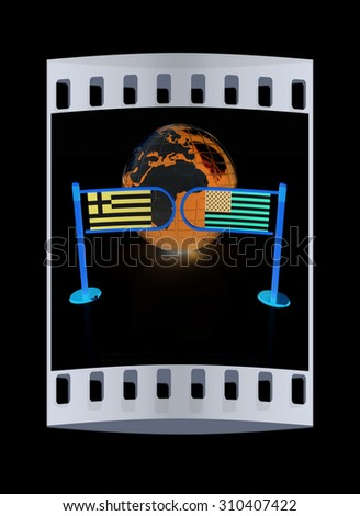 Three-dimensional image of the turnstile and flags of USA and Greece on a black background. The film strip - stock photo