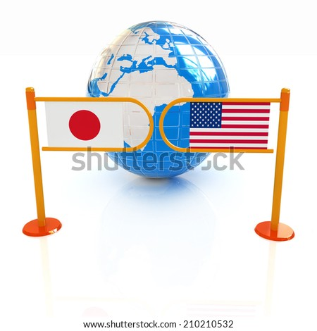Three-dimensional image of the turnstile and flags of USA and Japan on a white background  - stock photo