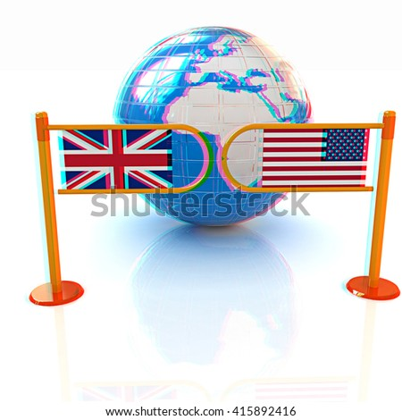 Three-dimensional image of the turnstile and flags of USA and UK on a white background . 3D illustration. Anaglyph. View with red/cyan glasses to see in 3D. - stock photo