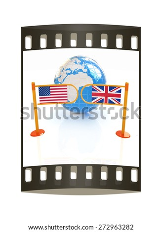 Three-dimensional image of the turnstile and flags of USA and UK on a white background. The film strip - stock photo