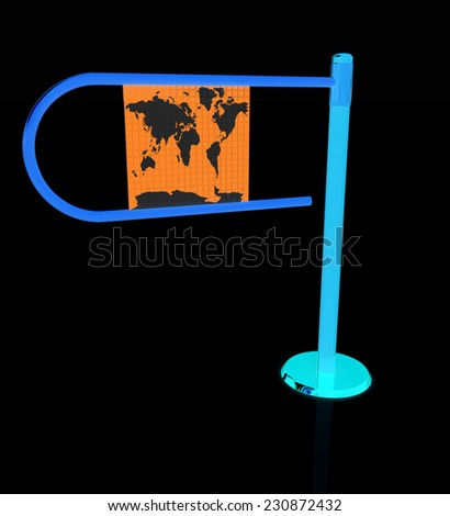 Three-dimensional image of the turnstile on a black background - stock photo
