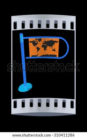 Three-dimensional image of the turnstile on a black background. The film strip - stock photo