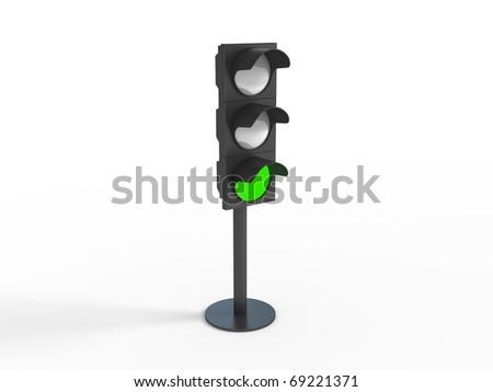 Three-dimensional image of traffic lights - stock photo