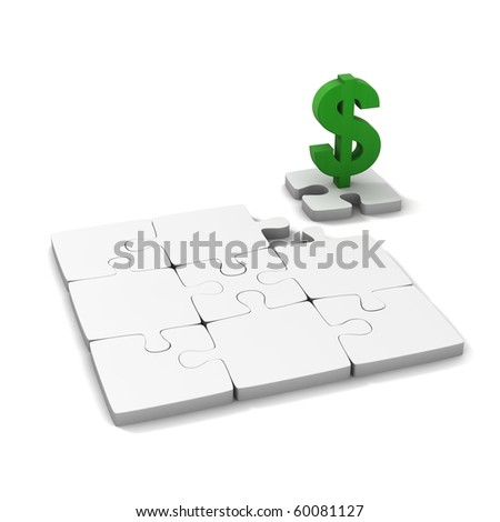 Three dimensional, isolated on white, Puzzle and dollar icon. - stock photo