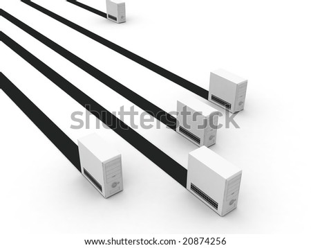 three dimensional isolated racing computer cabinets - stock photo