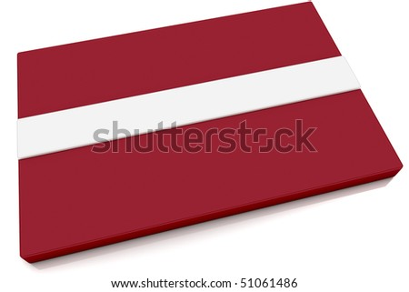 Three dimensional Latvian flag button.  Part of set of country flags all in 2:3 proportion with accurate design and colors.